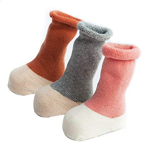FQIAO Baby Socks Cute Cotton Thick Warm Soft Unisex Stretchable 3 Pack for Autumn Winter M Size 1-3 Year]()
