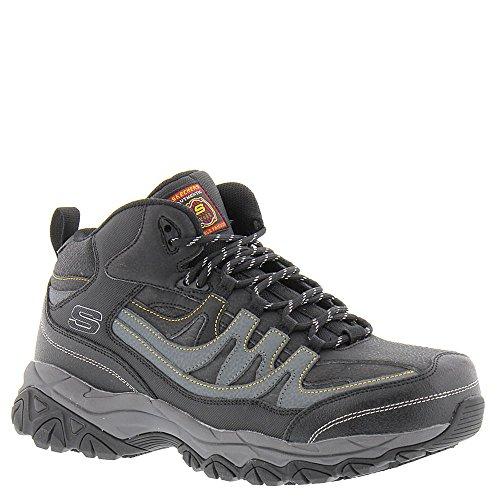 Skechers Work Men's Holdredge - Rebem Black Leather/Charcoal Trim Shoe -