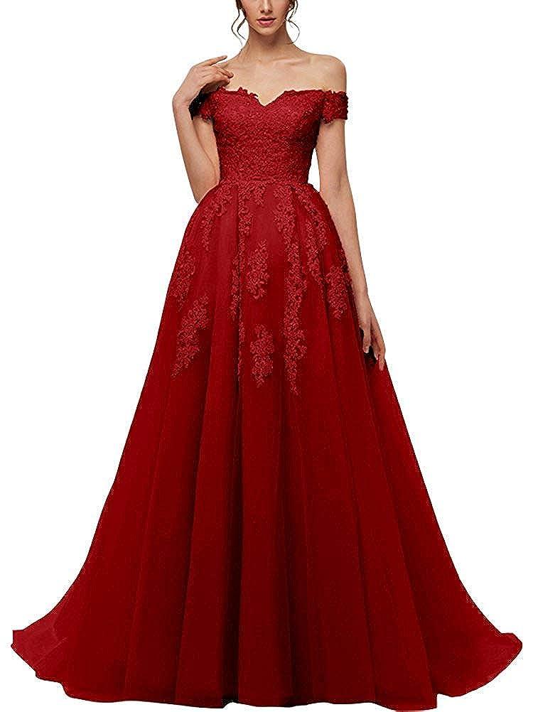 Burgundy JAEDEN Prom Dresses Long Formal Evening Gowns Lace Prom Dress A Line Evening Dress Tulle Evening Dresses