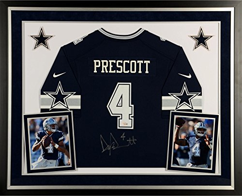 Dak Prescott Dallas Cowboys Deluxe Framed Autographed Nike Blue Game Jersey - Fanatics Authentic Certified