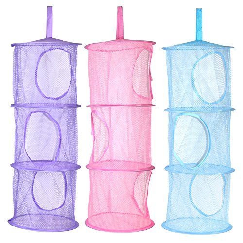 KisSealed 3 Pcs Hanging Mesh Space Foldable 3 Compartments Storage Basket Saver Bags Organizer for Travel,Kids Room,Bathroom and more by KisSealed