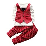 LEEZO 2Pcs Toddler Baby Boys Long Sleeve Tops+Pants Set Clothes Outfits Red