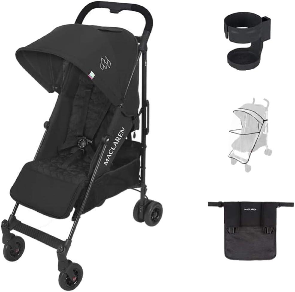 Maclaren Quest Arc Negro Style set -Pack silla de paseo + Organizador Universal + Burbuja lluvia Universal + Sujetavasos