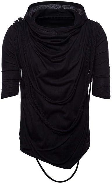 Hombres Borla Diseño Irregular Camisa Punk Rock Hip Hop Camiseta Discoteca DJ Streetwear Hombres Gótico con Capucha Camisetas Tops Ropa: Amazon.es: Ropa y accesorios