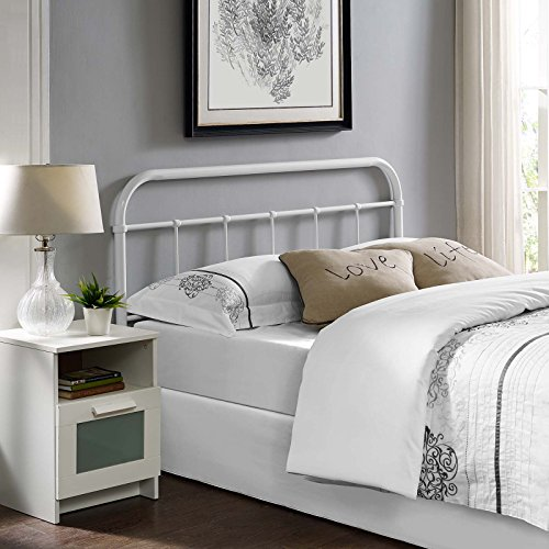 Modway Serena Rustic Farmhouse Steel Metal Full Headboard in White