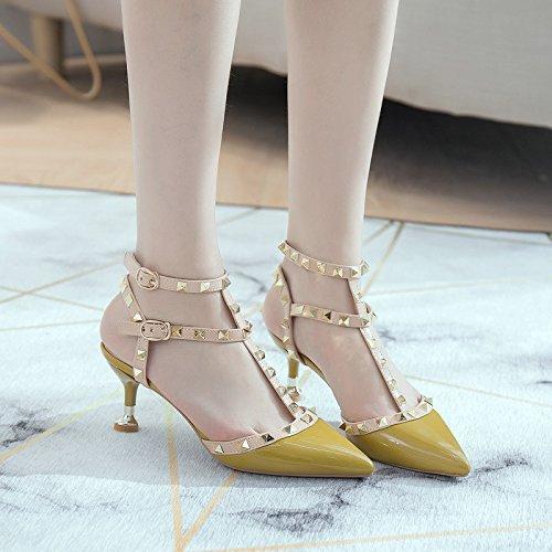 WHLShoes Sandalias y Chanclas para Mujer Un Botón para La Hebilla Sandalias Stiletto Zapatos Verano Señaló El Charol Remaches Baotou Confort Informal Wild yellow