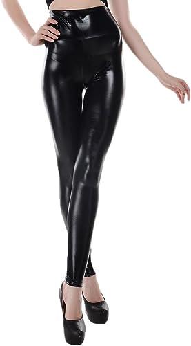 ELLAZHU Donna Pantaloni Metallico Elastico di Cuoio Artificale Leggings Taglia Unica 2143