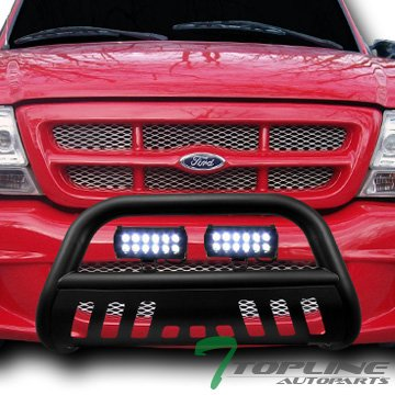 (Topline Autopart Matte Black Bull Bar Brush Push Bumper Grill Grille Guard With Skid Plate + 36W Cree LED Fog Lights For 98-11 Ford Ranger)