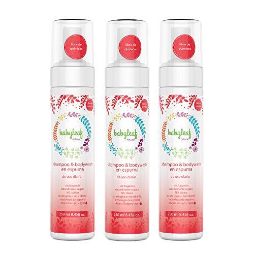 3 x Shampoos & Bodywash en espuma para recién nacidos - Babyleaf Natural - 250ml cada uno- bebés - Champu 750ml en total