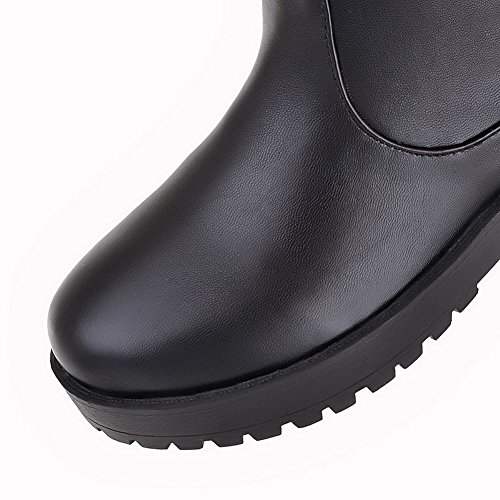 VogueZone009 Damen Ziehen auf Rund Zehe Mittler Absatz Mattglasbirne Stiefel Schwarz