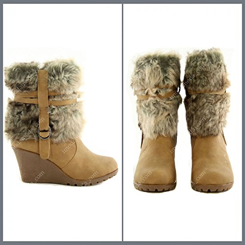 Damenschuhe Stiefelette Flauschiges Kunstfell Schuhe Kunstleder ZKA6660, Präzise Farbe:Camel;Schuhgröße:EUR 38