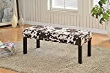 Container Furniture Direct Alma Collection Contemporary Upholstered Cowhide Fabric Decorative Accent Bench, Brown/Beige