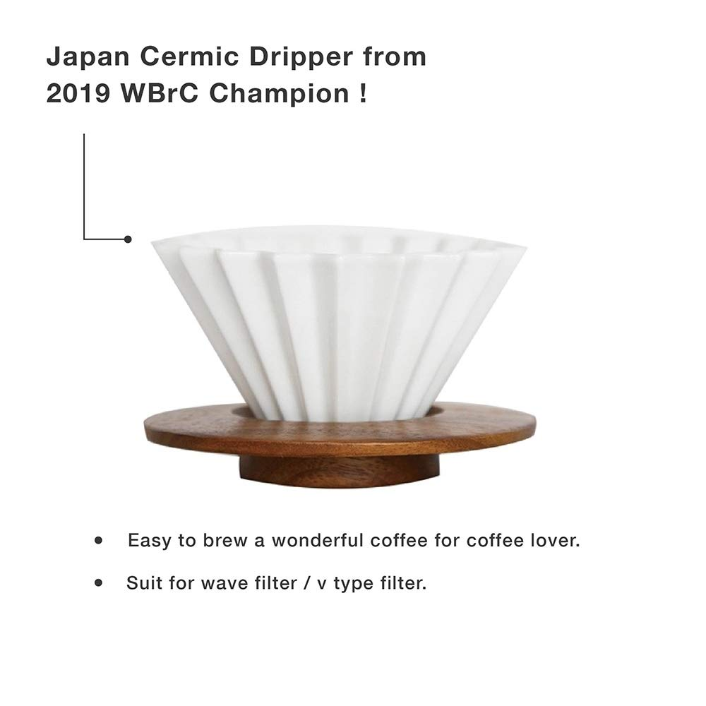 SimpleReal - TAMAGO Origami Ceramic Coffee Dripper | Elegant & Modern | Made in Japan | Pour Over for 1-2 Cups | WBrC Feature