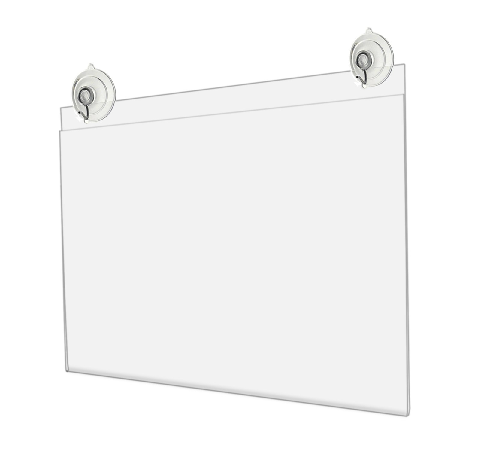 Marketing Holders Horizontal Store Front Sign Display Advertisement Flyer Frame with Suction Cups and Hanging Hooks 17''w x 11''h Lot of 2 by Marketing Holders
