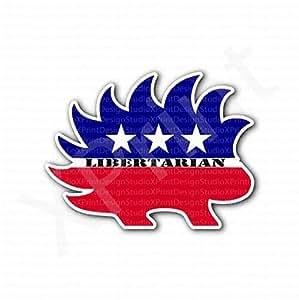 amazoncom libertarian porcupine flag sticker