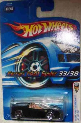 Mattel Hot Wheels 2006 First Editions 1:64 Scale Black Ferrari F430 Spider Die Cast Car #033 (F430 Ferrari Diecast)