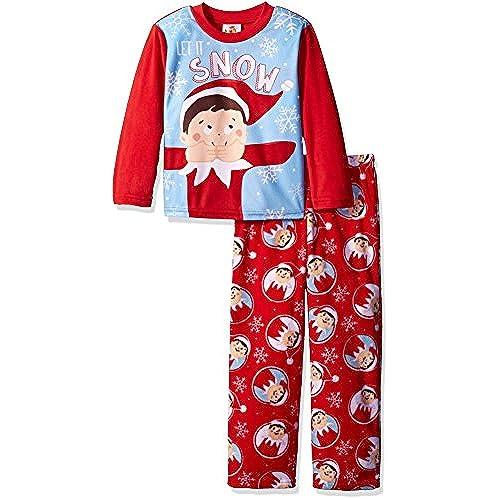 elf on the shelf boys little boys 2 piece fleece pajama set with red 6 - Elf Christmas Pajamas