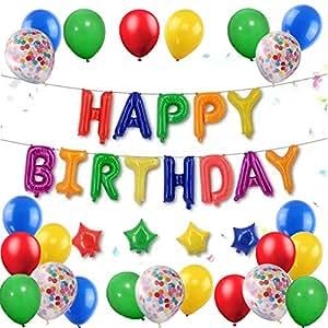 Amazon Dinosaur Happy Birthday Foil Balloons Banner Red Yellow