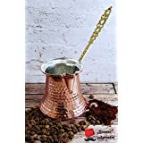 Handmade Turkish Coffee Pot, %100 Solid Copper and Brass Handle Turkish Copper Pot (S 2 Cups 155ml / 5.2oz) by Bazaar Anatolia