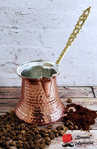 Handmade Turkish Coffee Pot, %100 Solid Copper and Brass Handle Turkish Copper Pot (L 4 Cups 155ml / 5.2oz)