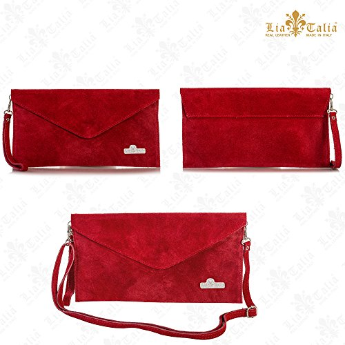 Envelope Leather Italian with Suede Bag Cotton Evening LIATALIA Pink Hot Clutch Lining LEAH nxZA1xw