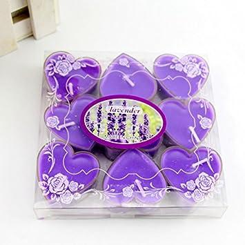 Purple profumate per matrimonio o anniversario Leisial Mini-candeline a forma di cuore taglia unica 9 pezzi