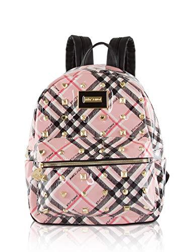 Betsey Johnson Plaid Patent Stud Medium Backpack - Blush Multi from Betsey Johnson