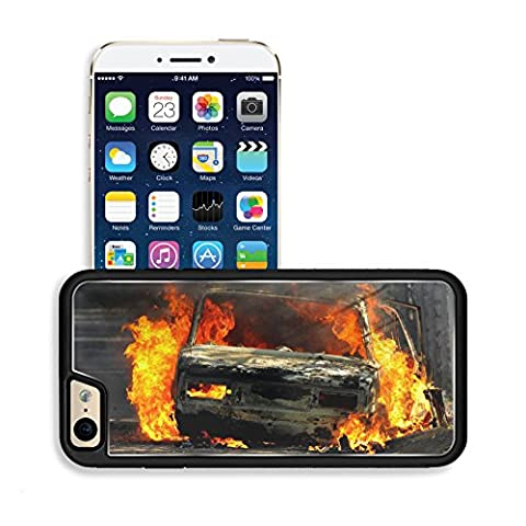 Luxlady Premium Apple iPhone 6 iPhone 6S Aluminium Snap Case Delivery type vehicle on side of road burning with large flames and smoke Car IMAGE 30781721 by Luxlady Customized Premium Deluxe (Exploding Smoke Bombs)