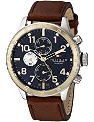 Tommy Hilfiger Mens 1791137 Cool Sport Two-Tone Stainless Steel Watch with Leather Band