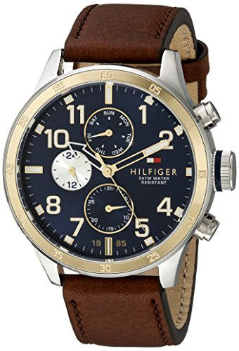 Tommy Hilfiger Men's 1791137 Cool Sport Two-Tone Stainless Steel Watch with Leather -