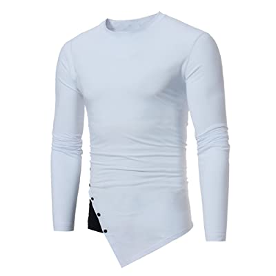 WINJUD Men's Pullover Top Slim Sweatshirts Long Sleeve O-Neck Blouse Irregular Shirt Patchwork Top(White,XL): Clothing