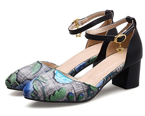 Closed Sandals Kitten Women Buckle Heels Toe VogueZone009 Blue Pu wHSqqP