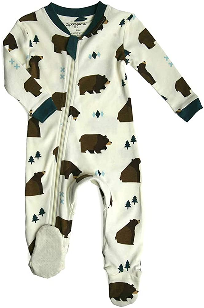 18-24 Mos ZIPPYJAMZ Organic Baby Footed PJs w//Inseam Zipper Little Grizzle