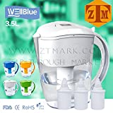 ALKALINE pH PLUS WHITE ionized Water PITCHER, 3.5 L By WellBlue, 3 Filters (6 Month Supply).