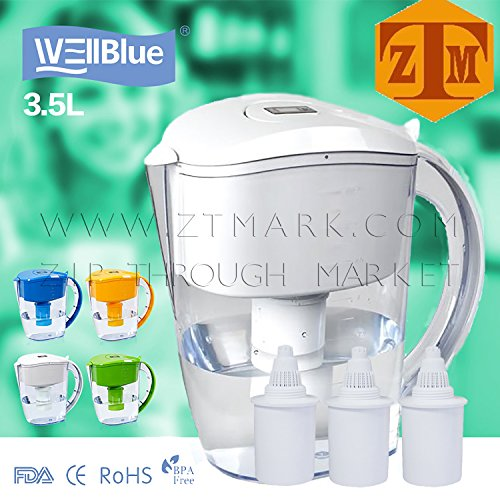 ALKALINE pH PLUS WHITE ionized Water PITCHER, 3.5 L By WellBlue, 3 Filters (6 Month ()