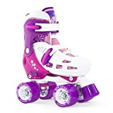 SFR Racing Storm II Kids Adjustable Quad Roller Skates - White/Purple/Pink - Medium