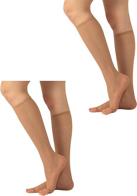Sheer Toeless Knee-High Socks 2 Pairs Woman Open Toe Knee-High Socks 10 DEN