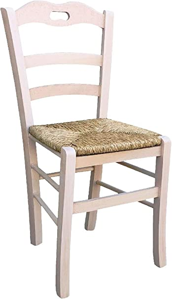 Sedia in legno massello seduta in paglia ristorante casa