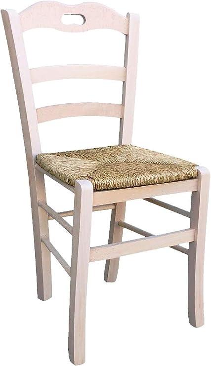 Chaise En Bois Massif Assise En Paille Restaurant Casa Brute De Peindre Nouvelle Deja Monte Modele Valentina Amazon Fr Bricolage