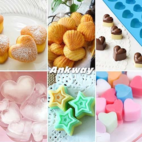 Silicone Chocolate Molds & Candy Molds & Gummy Molds Set of 3 - Ankway Non Stick BPA Free Small Flexible Hearts, Stars & Shells Baking Wax Molds Silicone Ice Cube Trays Mini Ice Maker Molds (15 Cups) by Ankway (Image #7)