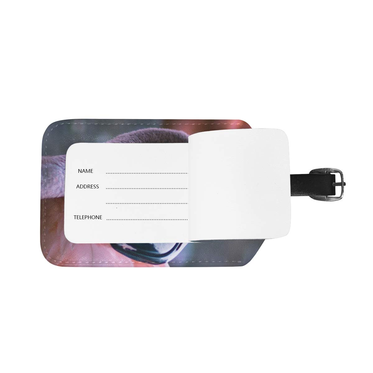 Aibileen Clear Flamingo Dark Pink Photography Art Luggage Tag Travel ID Label Leather for Baggage Suitcase 1 Piece