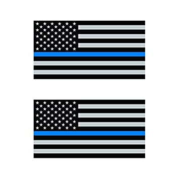 2 US Thin Blue Line Flag Vinyl Decals Police Officer Distressed American jeep