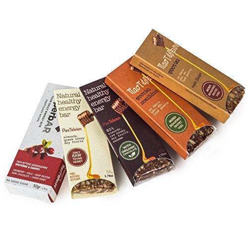 5 Natürliche Rohkost Riegel / Bar Probier-Paket (2*50g + 3*45g) - Schoko Erdnuß Mandel Protein - Superbar - Powerbar - Energie Bar - Healthy - Eiweiß - Glutenfrei - Ohne künstliche Zucker - Ohne Konservierungsstoffe - Rohkost - RAW - Superfood - Bio - Organic