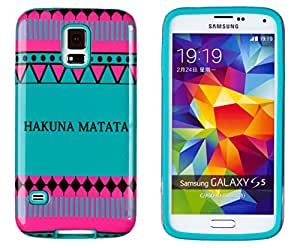 DandyCase 2in1 Hybrid High Impact Hard Hakuna Matata Aztec Tribal Pattern + Teal Silicone Case Cover For Samsung Galaxy S5 i9600 + DandyCase Screen Cleaner