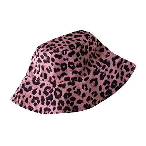 LYBAIN Leopard Print Bucket Hat Fashion Reversible Design Packable Sun Hat (Pink)