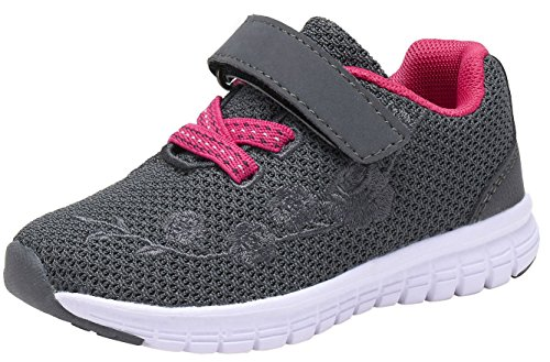 G GEERS Kids Girl's Fashion Sneakers Casual Sports Shoes (12 M US Little Kid,New Gy/Fuch), 2-grey/Fuchsia (Sport Shoes For Children)