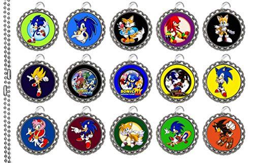 15 Sonic The Hedgehog SILVER Bottle Cap Pendant Necklaces Set -