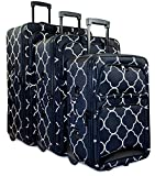 Ever Moda Quatrefoil 3 Piece Luggage Set (Black)