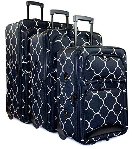 Ever Moda Quatrefoil 3 Piece Luggage Set (Black) by Ever Moda