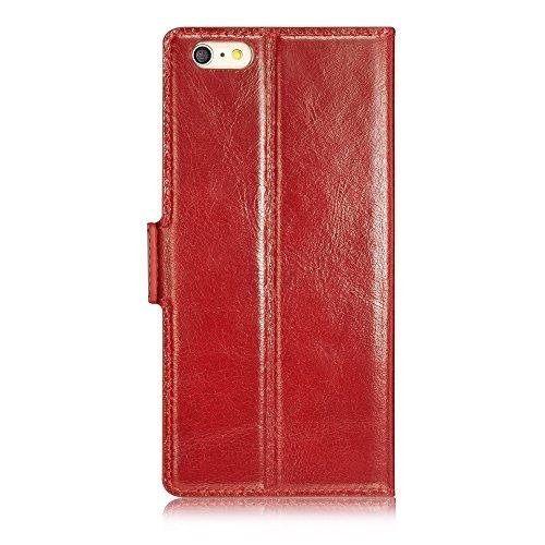 Tscase iPhone 6 Funda iPhone 6s Plus Funda Marrón Funda de cuero genuino y PC Folio Carpeta Carcasa de tarjeta Ranura magnética Caja de teléfono de cierre para iPhone 6 y iPhone 6s 4,7 pulgadas Borgoña